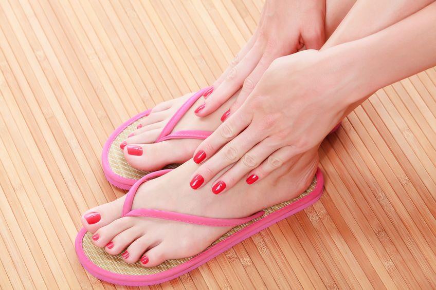 female feet with flip-flops