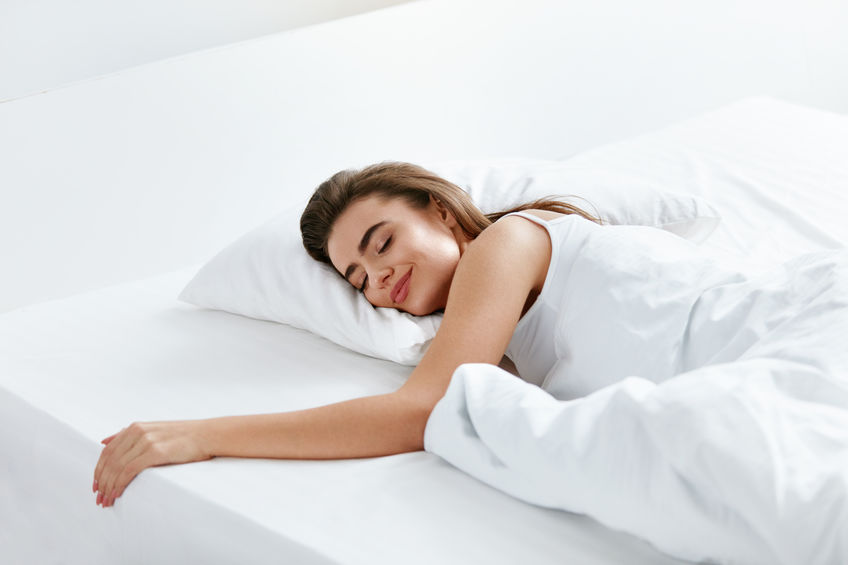 Woman Sleeping On White Bedding, WIth Soft Pillow, Mattress